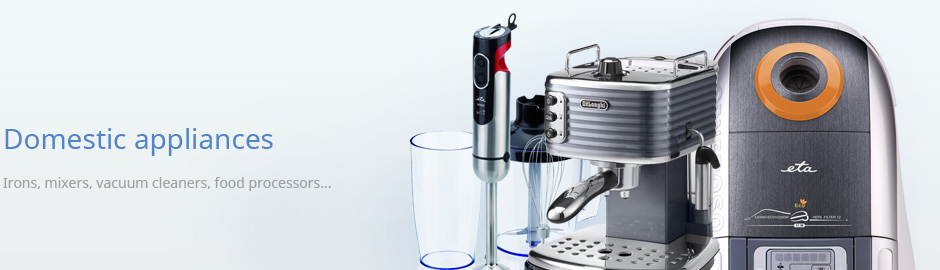Domestic appliances - Irons, mixers, vacuum cleaners, food processors...